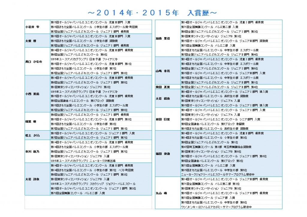 おさらい会告知用コンクール入賞暦