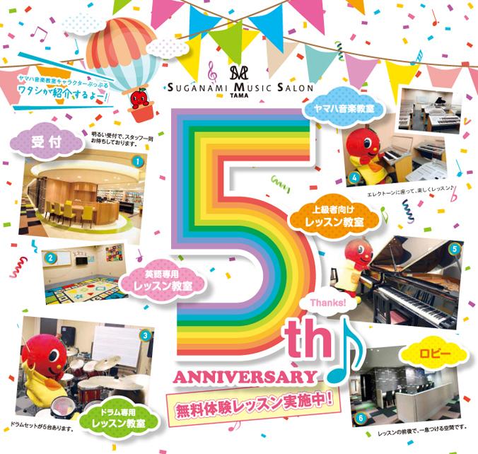 スガナミミュージックサロン多摩5周年感謝キャンペーン。ヤマハ音楽教室キャラクターのぷっぷるがお教室をご紹介!