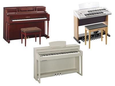 ヤマハクラビノーバ CLP-535、ヤマハエレクトーン STAGEAベーシックモデル ELB-02、ヤマハインテリアピアノ M2SDW