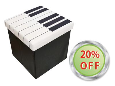 かわいいピアノ柄のスツールボックスTY4610-01が20%OFFに!4,968円が3974円税込。