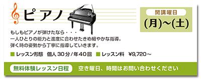 ピアノ。開講曜日、月曜日から土曜日。もしもピアノが弾けたなら。一人ひとりの能力と進度に合わせたきめ細やかな指導。弾く時の姿勢から丁寧に指導していきます。