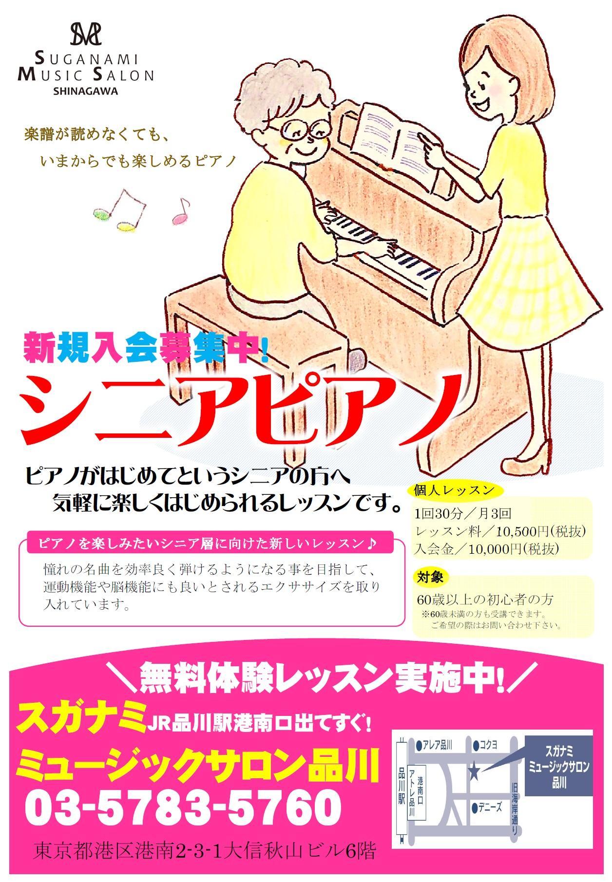 楽譜が読めなくても、いまからでも楽しめるピアノ。新規入会募集中、シニアエイジのためのシニアピアノ。ピアノがはじめてというご年配の方へ、気軽にはじめられるレッスンです。ピアノを楽しみたいシニア層に向けた新しいレッスンだから、はじめてでも安心。憧れの名曲を効率よく弾けるようになる事を目指して、運動機能や脳機能にも良いとされるエクササイズを取り入れています。個人レッスン1回30分、月3回。レッスン料金10,500円税別、入会金10,000円税別。対象、60歳以上の初心者の方。60歳未満の方も受講できます。ご希望の際はお問合せください。